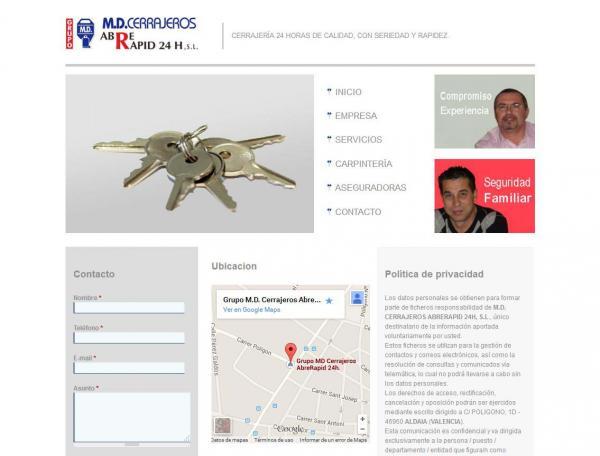 Diseño web Valencia - NeutralSEO - Grupo M.D. Cerrajeros AbreRapid 24h.